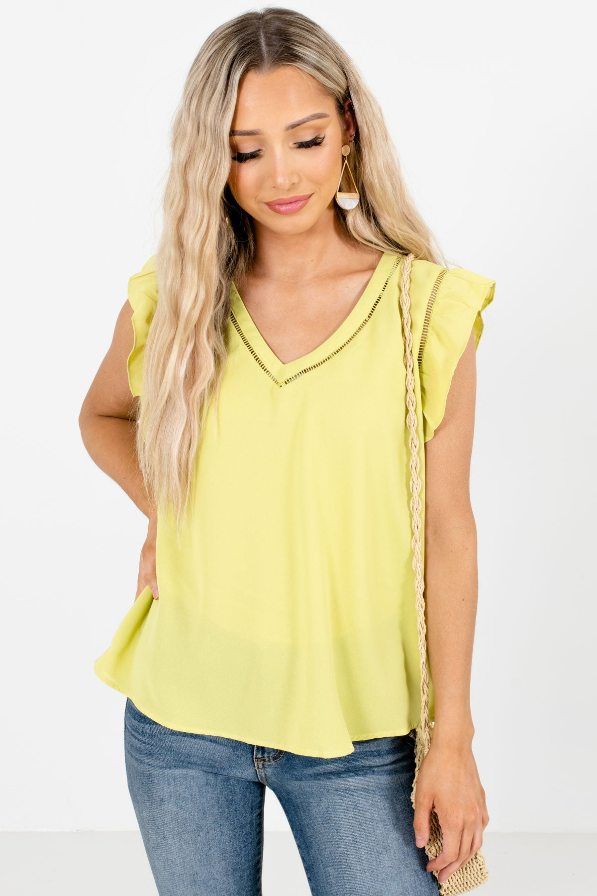Green Flutter Sleeve Style Boutique Blouses for Women