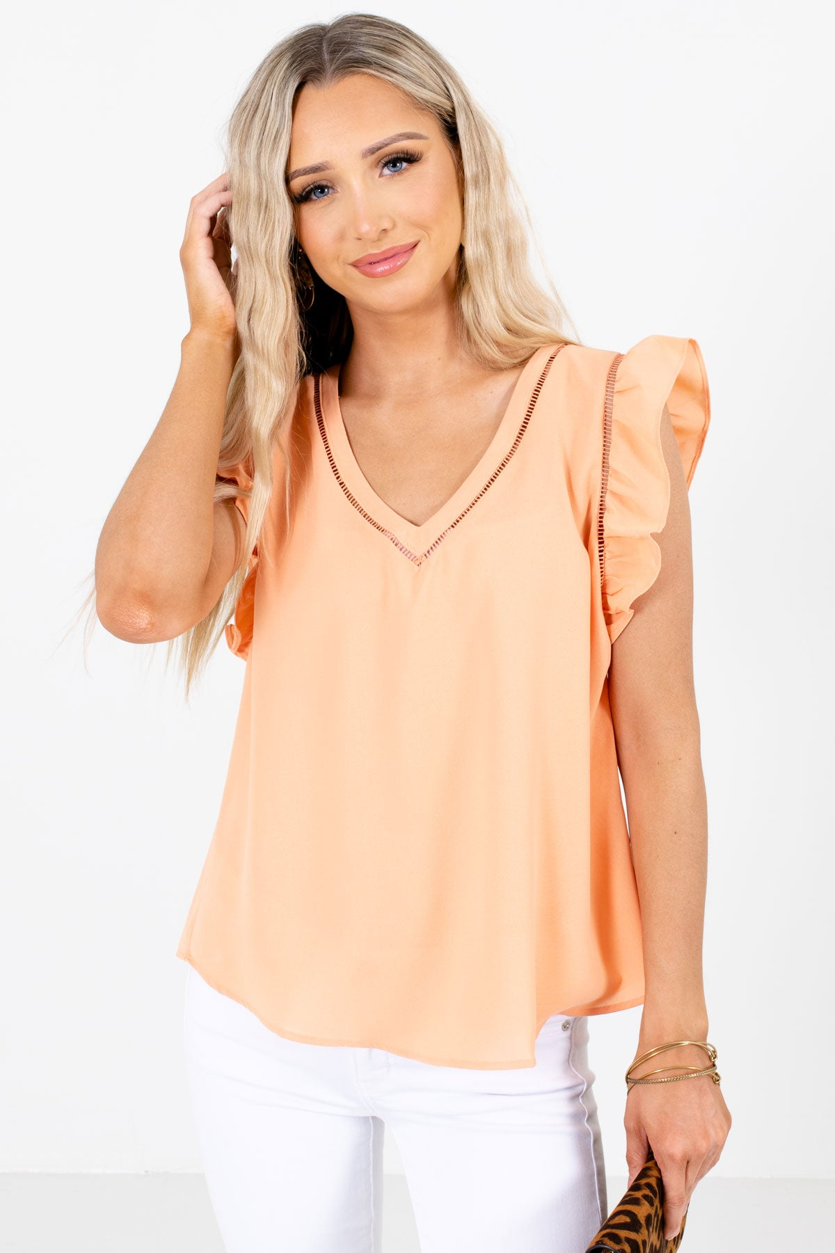 Orange Flutter Sleeve Style Boutique Blouses for Women