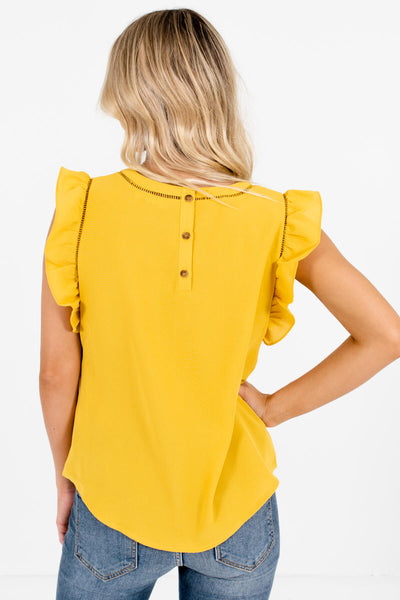 Women's Mustard Yellow Ladder Lace Accent Boutique Blouse