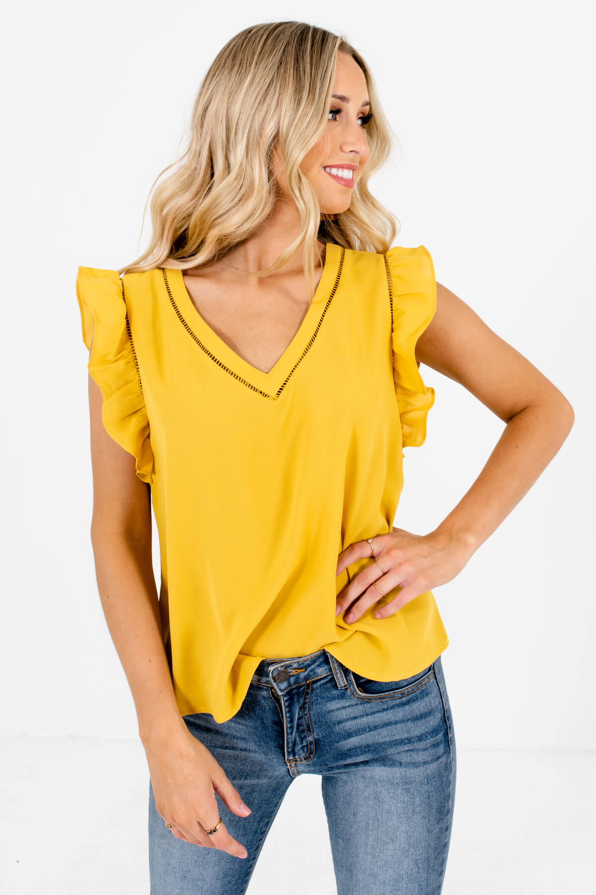 Mustard Yellow Flutter Sleeve Style Boutique Blouses for Women