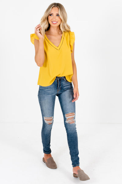 Women's Cute Mustard Yellow V-Neckline Lightweight Boutique Blouse