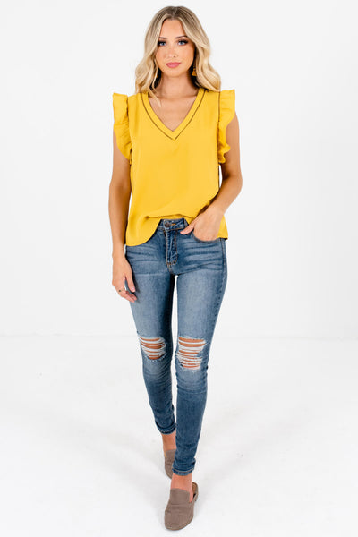Women's Mustard Yellow Business Casual Boutique Clothing