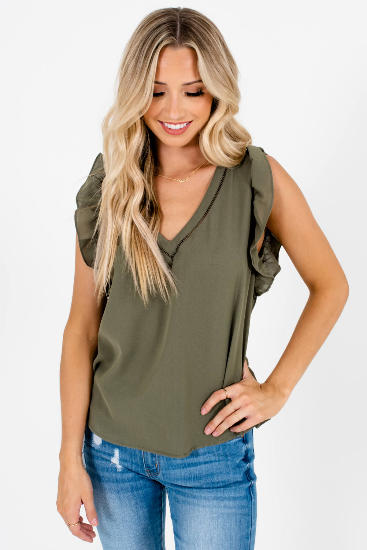 Olive Green Flutter Sleeve Style Boutique Blouses for Women