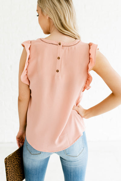 Rose Pink Women's Ladder Lace Detailed Boutique Blouse