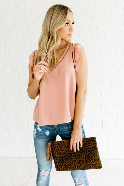 Cute Rose Pink Flutter Sleeve Ladder Lace Boutique Blouses for Women
