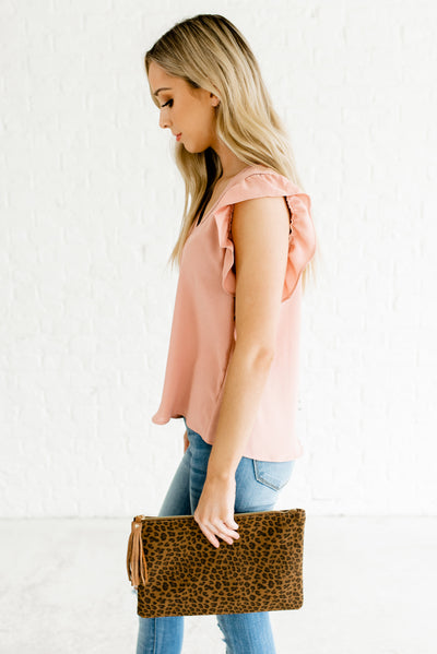 Rose Pink Back Button-Up Boutique Blouses for Women