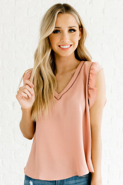 Rose Pink Flutter Sleeve Style Boutique Blouses for Women