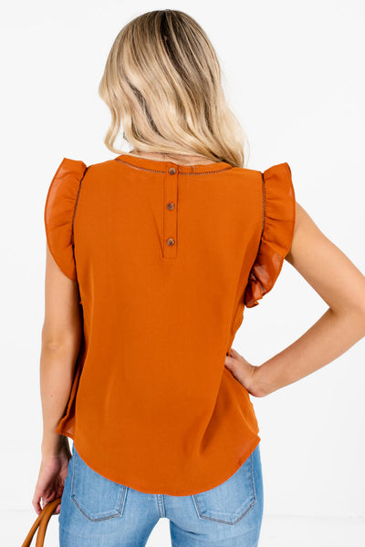 Women's Rust Orange Ladder Lace Accent Boutique Blouse