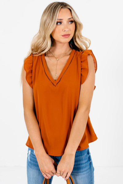 Rust Orange Flutter Sleeve Style Boutique Blouses for Women