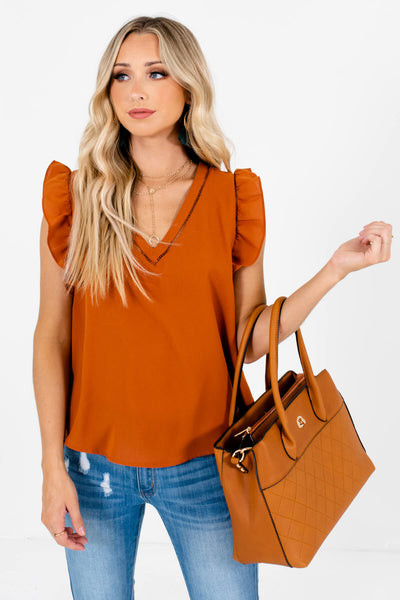 Women's Cute Rust Orange V-Neckline Lightweight Boutique Blouse