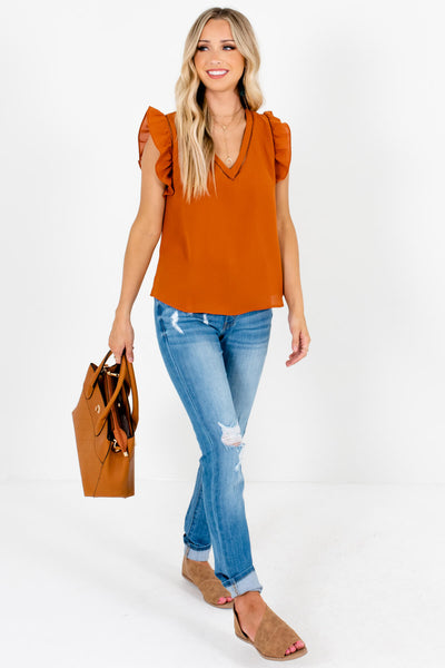 Rust Orange Cute and Comfortable Boutique Tank Tops for Women