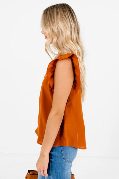 Rust Orange Button-Up Back Boutique Blouses for Women