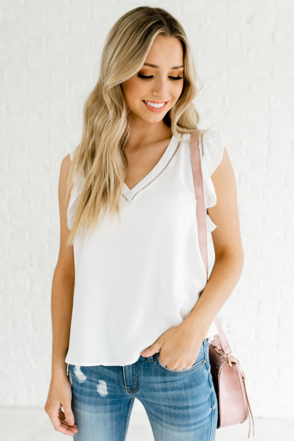 White Flutter Sleeve Style Boutique Blouses for Women
