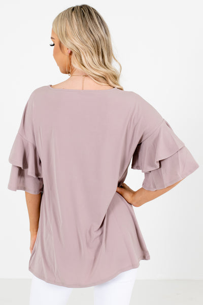 Women's Brown Flowy Silhouette Boutique Top