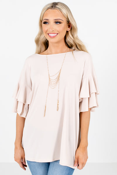 Beige Ruffle Sleeve Boutique Tops for Women
