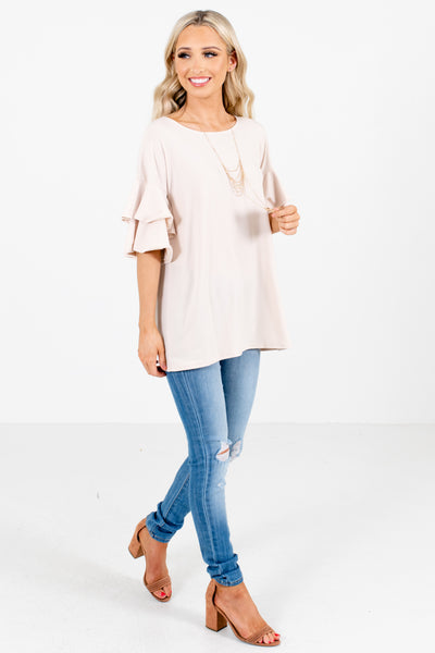 Women's Beige Round Neckline Boutique Top