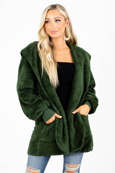 Green Faux Fur Material Boutique Jackets for Women