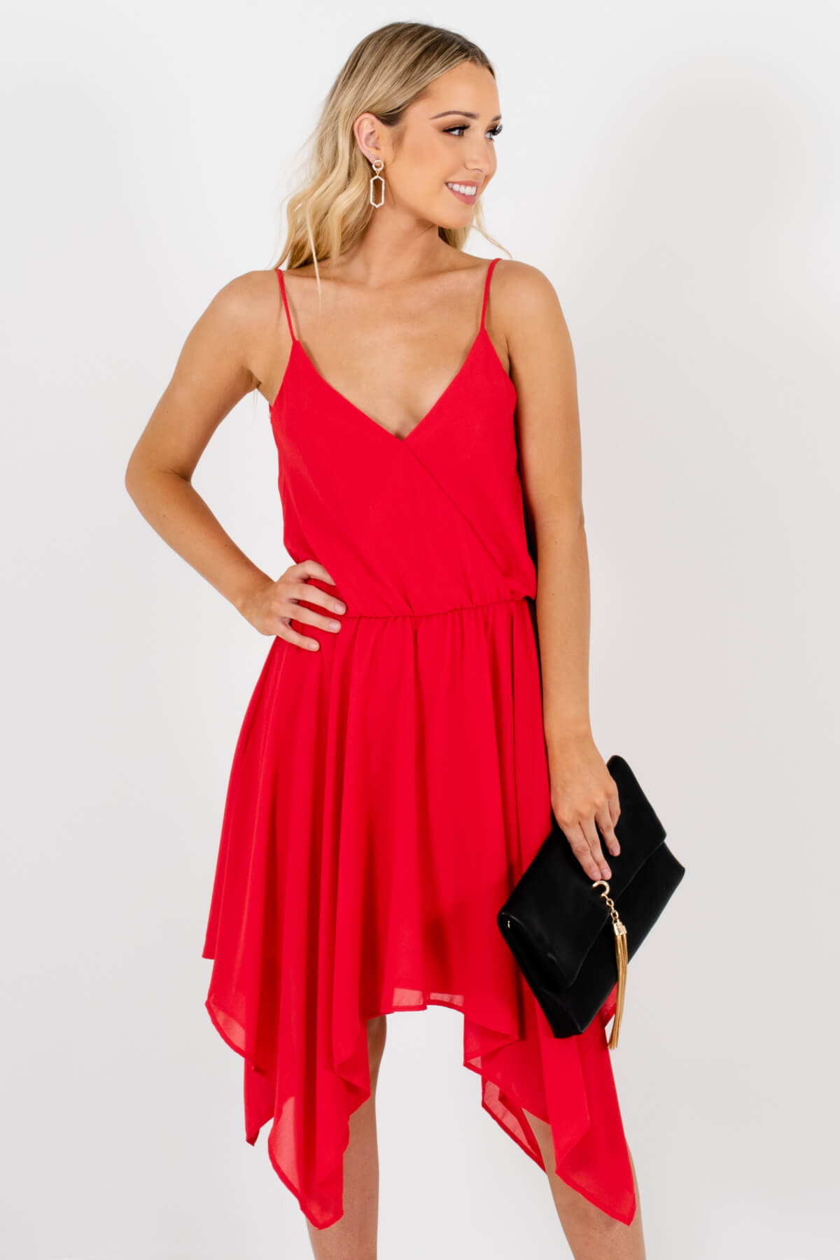 Red Draped Handkerchief Hem Mini Dresses Affordable Online Boutique