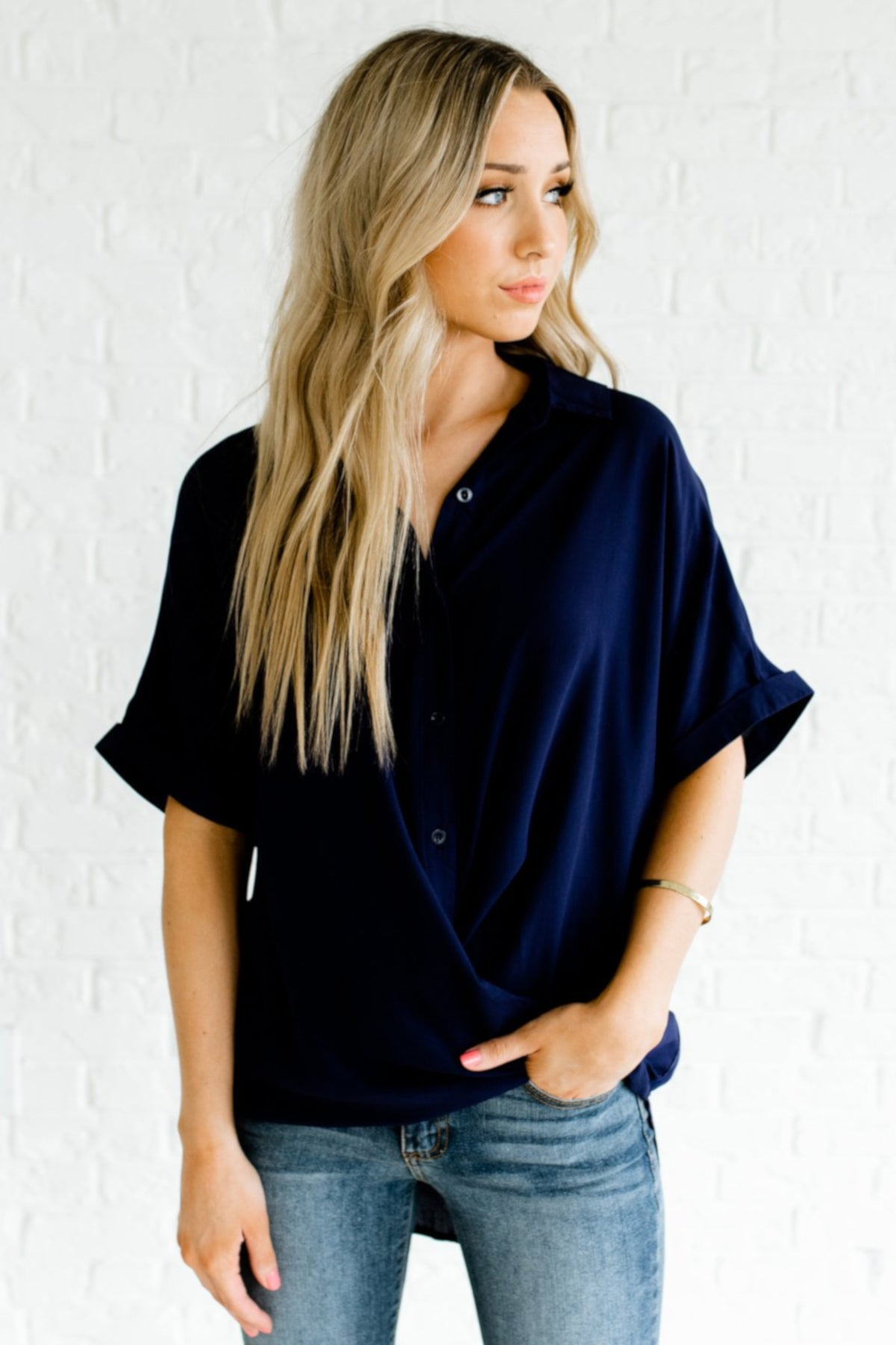 Navy Blue Button Up Shirt Collar High Low Hem Faux Wrap Shirts