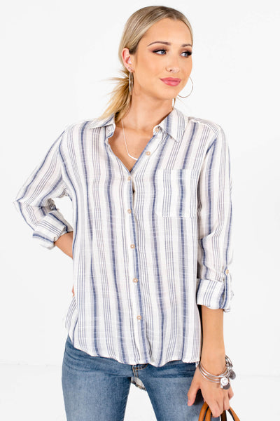Navy Blue High-Low Hem Boutique Shirts for Women