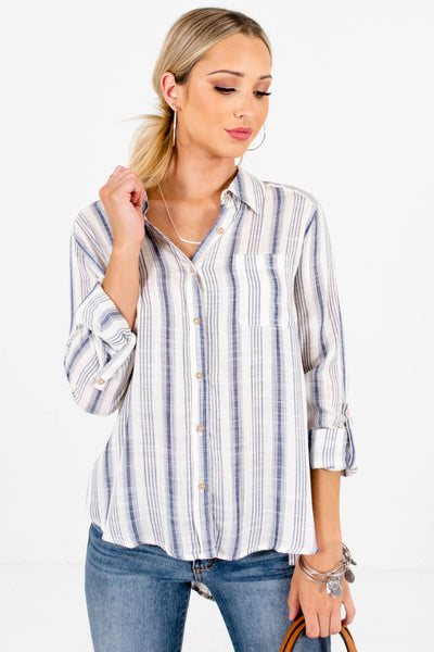 Navy Blue and White Striped Boutique Shirts for Women