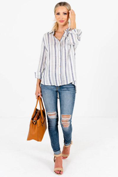 Navy Blue Striped Cute and Comfortable Boutique Shirts for Women