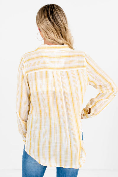 Women's Yellow Button-Up Front Boutique Shirt