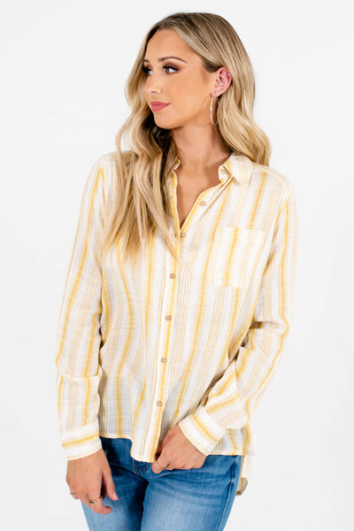 Yellow High-Low Hem Boutique Shirts for Women