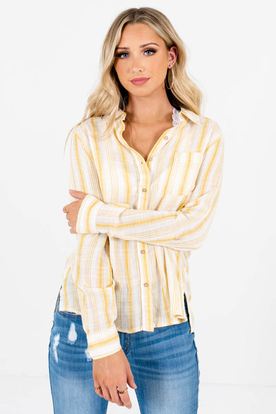 Yellow Striped Cute and Comfortable Boutique Shirts for Women