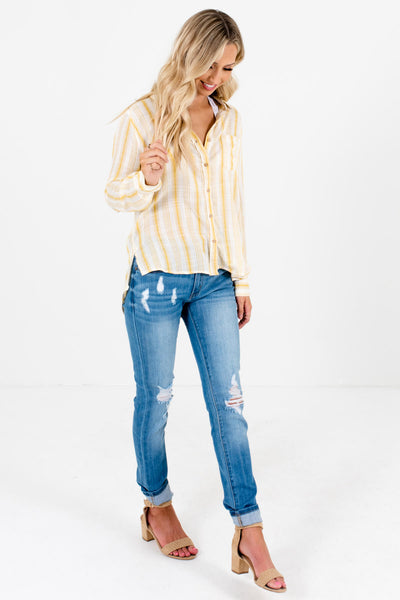 Women's Yellow Front Pocket Accents Boutique Shirt