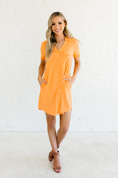 Orange Boutique Dresses with Pockets for Women