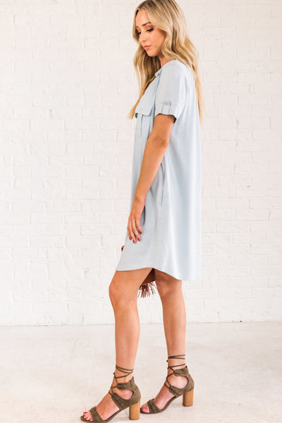 Light Powder Blue Flowy, Lightweight Dresses for Women