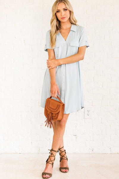 Light Powder Blue Business Casual Boutique Dresses for Women