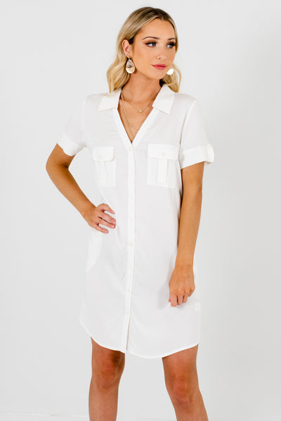 White Business Casual Boutique Dresses for Women