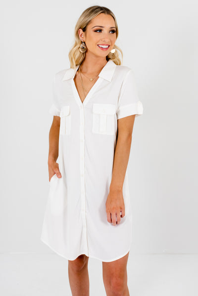 White Boutique Knee-Length Dresses for Women
