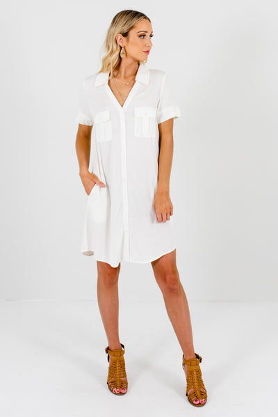 White Flowy, Lightweight Boutique Dresses for Women