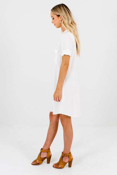 White Boutique Mini Dress with Front Pockets for Women