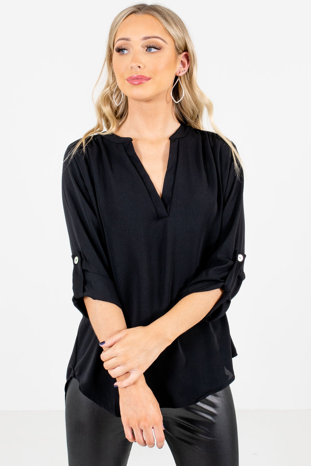 Black Split V-Neckline Boutique Blouses for Women