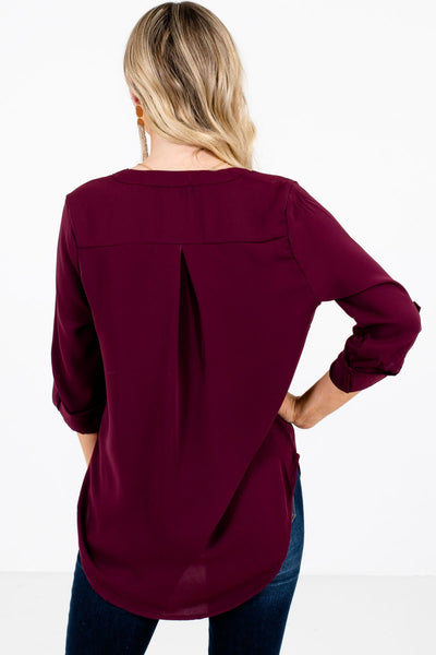 Women's Burgundy High-Low Hem Boutique Blouse
