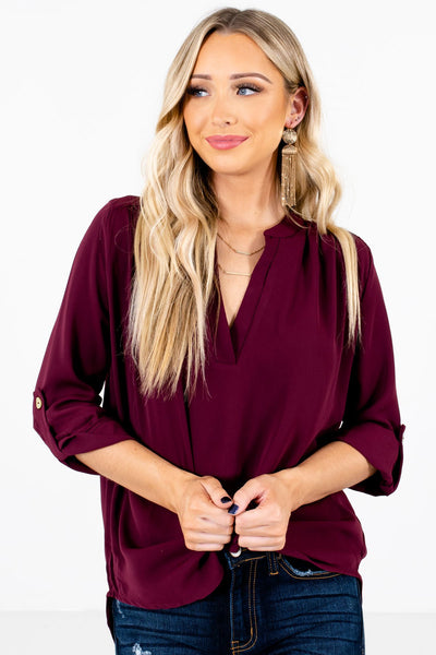 Women's Burgundy Lightweight Boutique Blouses for Women