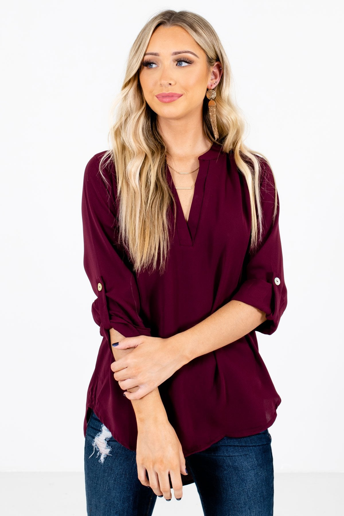 Burgundy Split V-Neckline Boutique Blouses for Women