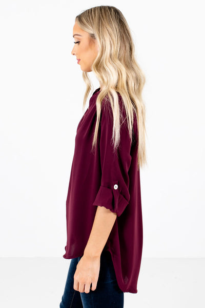 Burgundy ¾ Length Sleeve Boutique Blouses for Women