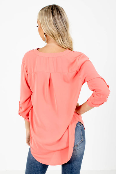 Women's Coral Pleated Accent Boutique Blouse