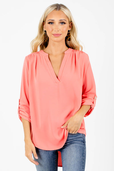 Coral High-Low Hem Boutique Blouses for Women