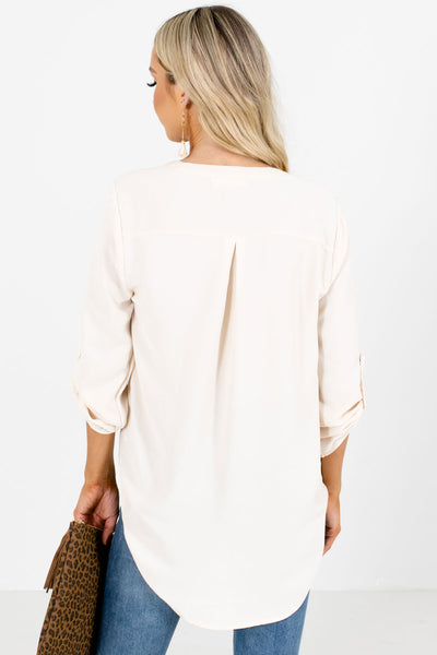 Women's Cream Pleated Accented Boutique Blouse