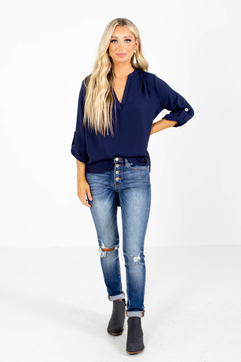Busy Woman Navy Blouse