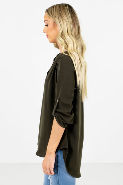 Olive Green ¾ Length Sleeve Boutique Blouses for Women