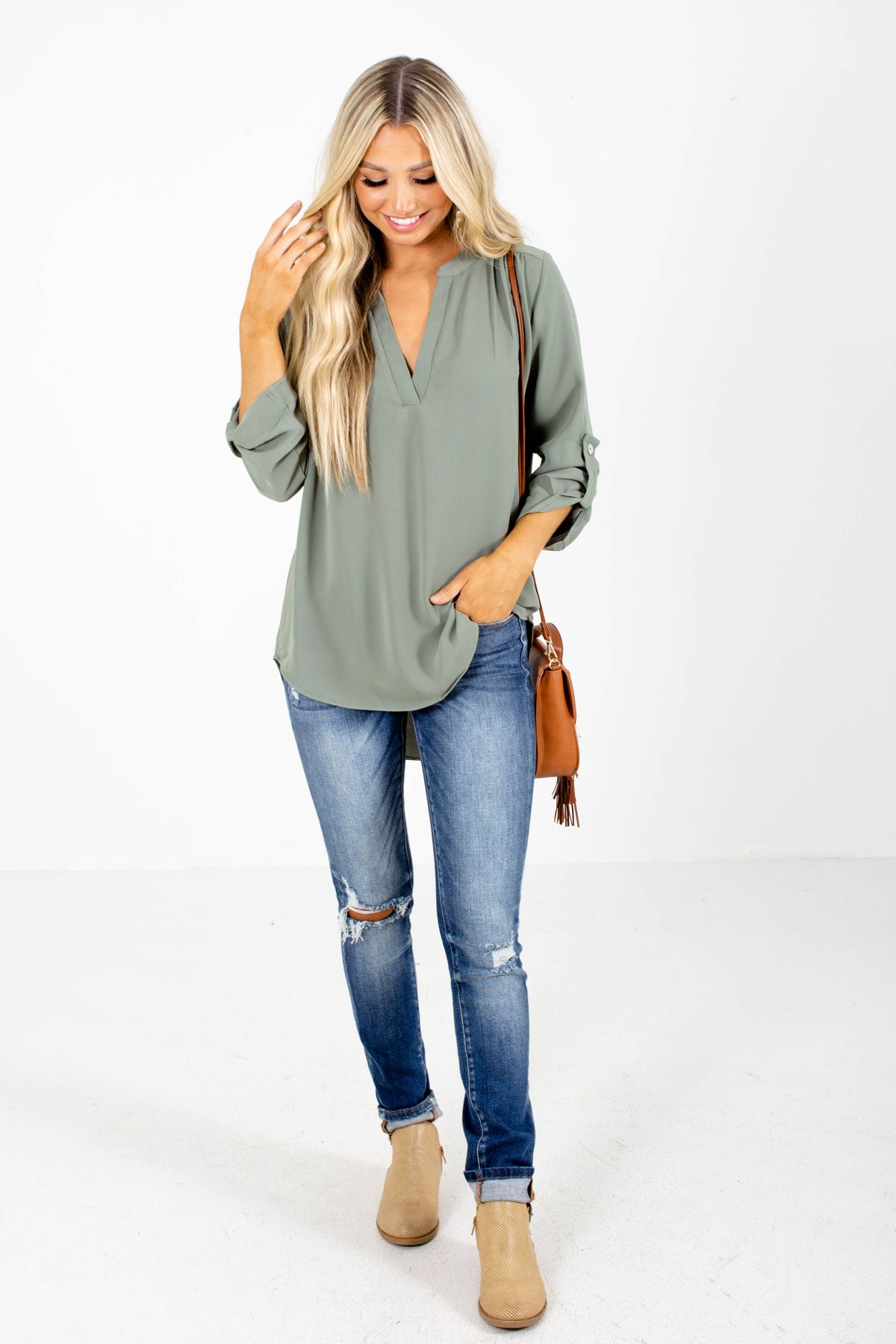 Olive Green Boutique Tops for Women