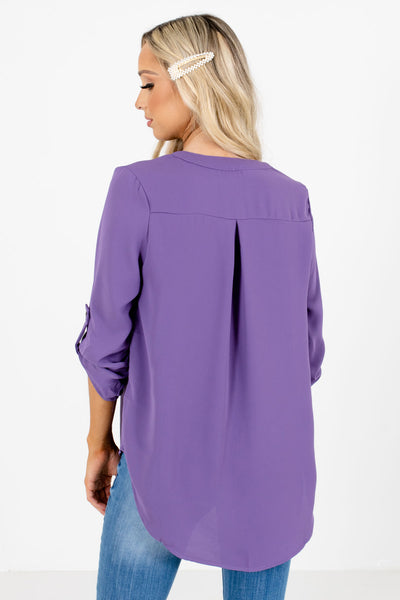 Women's Purple Pleated Accented Boutique Blouse