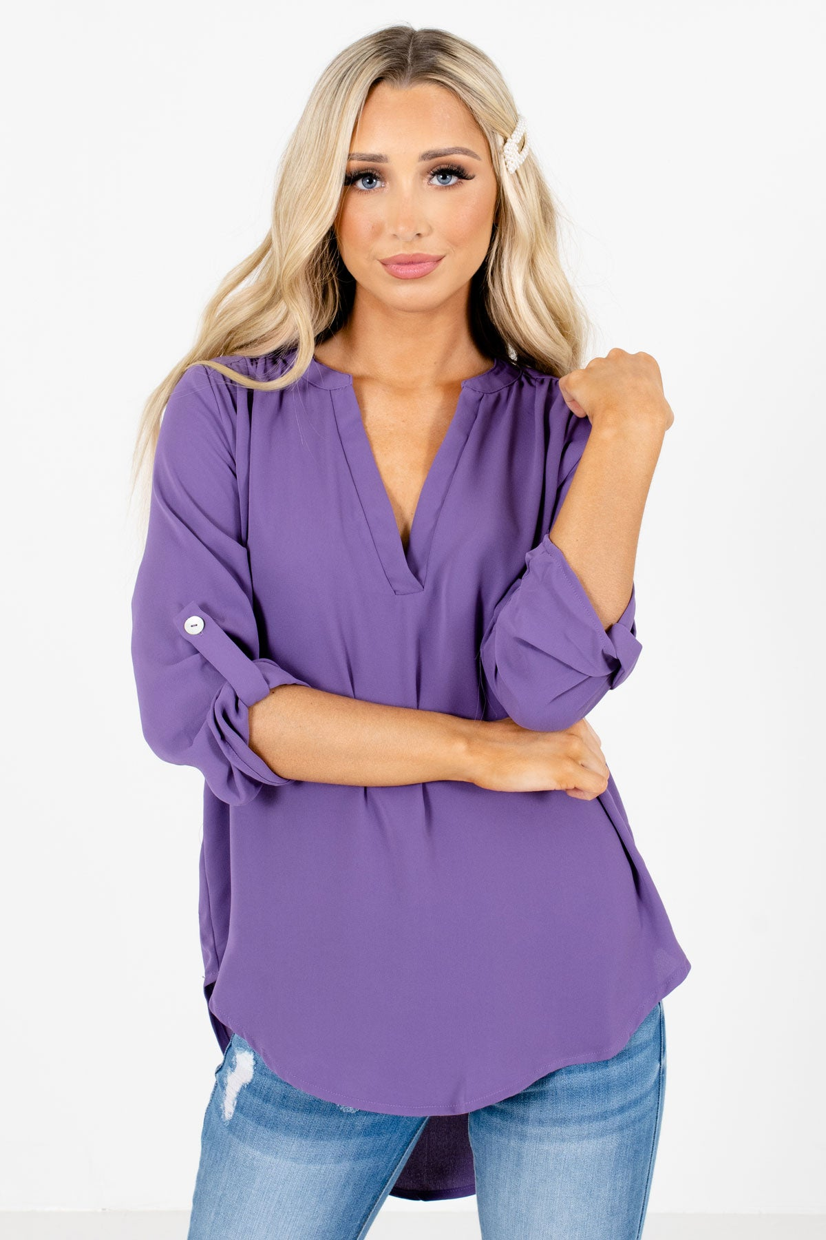 Purple Split V-Neckline Boutique Blouses for Women